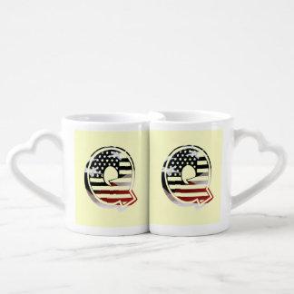 USA Flag American Initial Monogram Q Lovers Mug