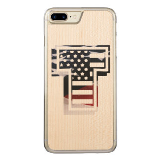 USA Flag American Initial Monogram T Carved iPhone 7 Plus Case