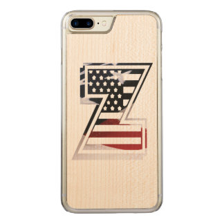 USA Flag American Initial Monogram Z Carved iPhone 7 Plus Case