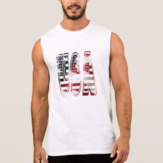 USA Flag American Logo Sleeveless Shirts