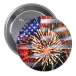 USA Flag and Fireworks 7.5 Cm Round Badge