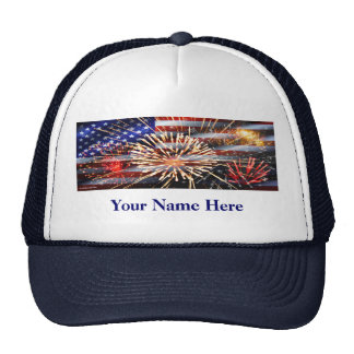 USA Flag and Fireworks Cap