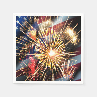 USA Flag and Fireworks Disposable Serviette