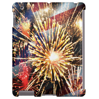 USA Flag and Fireworks iPad Case