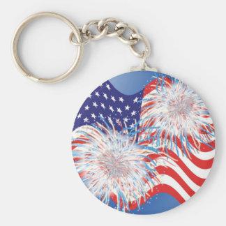 USA Flag and Fireworks keychain