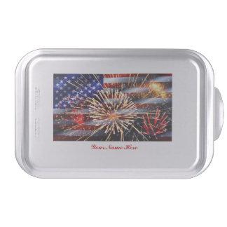 USA Flag and Fireworks Cake Pan