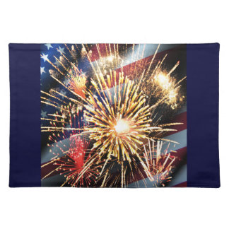 USA Flag and Fireworks Placemats