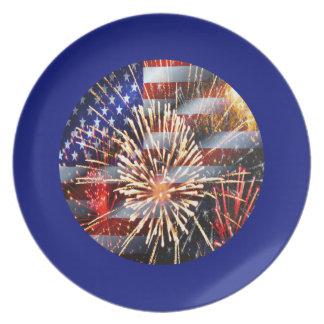 USA Flag and Fireworks Dinner Plate