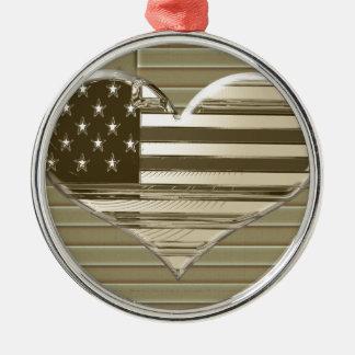 USA Flag and Heart Design Christmas Ornament