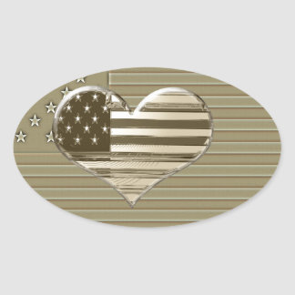 USA Flag and Heart Design Oval Sticker