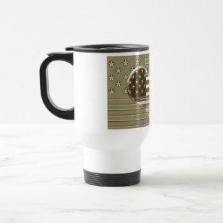 USA Flag and Heart Design Travel Mug