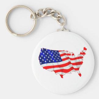 USA Flag and Map Keychain