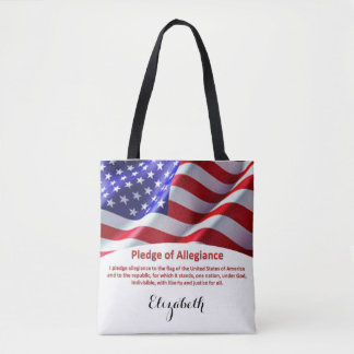 USA Flag and Pledge of Allegiance Tote with Name