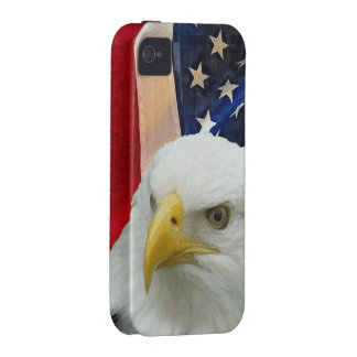 USA Flag and Proud Patriotic Bald Eagle iPhone 4 Case