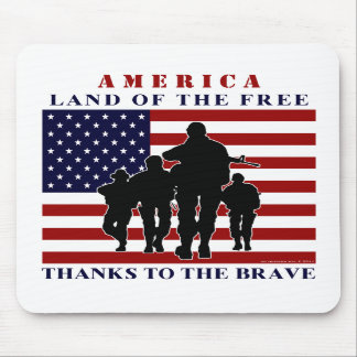 USA Flag and Soldiers Silhouette Mousepad