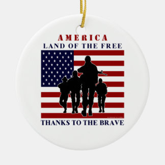 USA Flag and Soldiers Silhouette Ornament