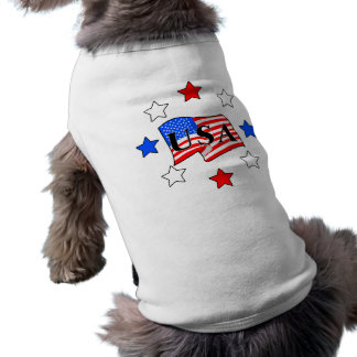 USA Flag and Stars Sleeveless Dog Shirt