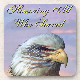 USA Flag Bald Eagle Patriot Vet Coaster