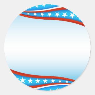 USA Flag Banner Background Round Sticker