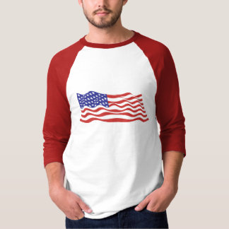 USA Flag Basic 3/4 Sleeve Raglan T-Shirt