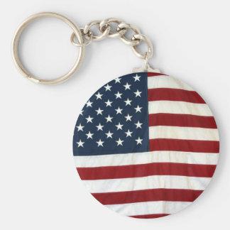 USA Flag Basic Round Button Key Ring