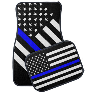 USA Flag Black and White Thin Blue Line Car Mat