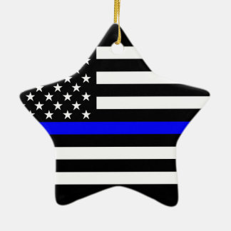 USA Flag Black and White Thin Blue Line Ceramic Star Decoration