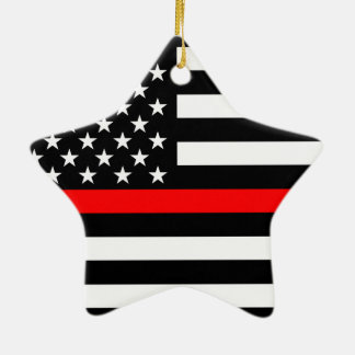 USA Flag Black and White Thin Red Line on a Ceramic Star Decoration