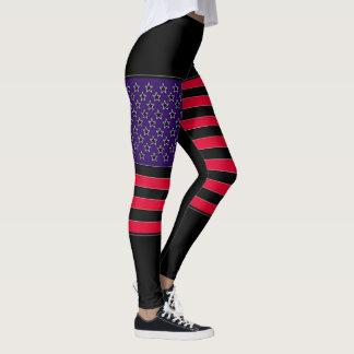 USA Flag Black Red Blue Leggings