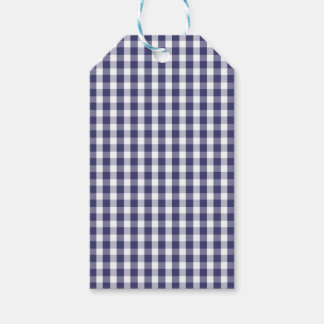 USA Flag Blue and White Gingham Checked Gift Tags