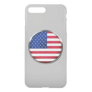 USA Flag Button iPhone7 Plus Clear Case