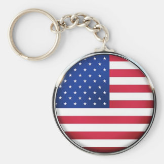 USA Flag Button Key Chain