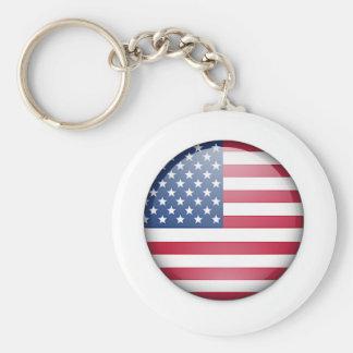 USA flag button Basic Round Button Key Ring