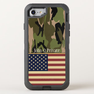 USA Flag Camo Name Template OtterBox Defender iPhone 7 Case