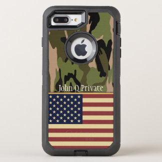 USA Flag Camo Name Template OtterBox Defender iPhone 8 Plus/7 Plus Case