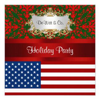 USA Flag Christmas Holiday Damask 2 Party Custom Announcement