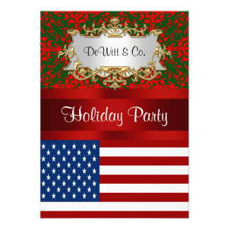 USA Flag Christmas Holiday Damask 2 V Party Custom Announcement