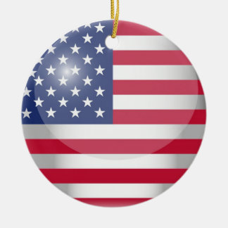 USA FLag Christmas Ornament