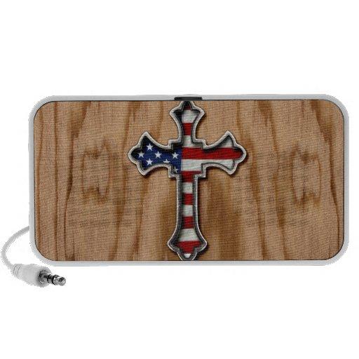 USA Flag Cross Portable Speaker