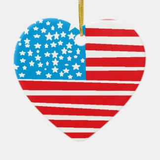 USA flag design pic.gif Ceramic Heart Decoration