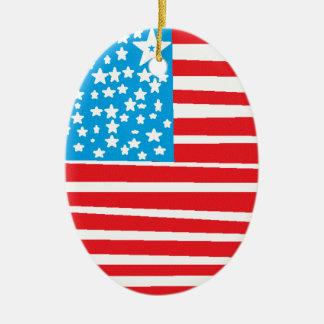 USA flag design pic.gif Ceramic Oval Decoration