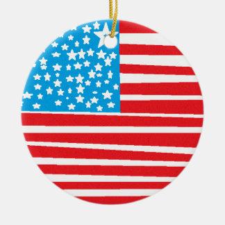 USA flag design pic.gif Round Ceramic Decoration