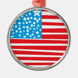USA flag design pic.gif Silver-Colored Round Decoration
