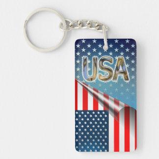 USA Flag Double-Sided Rectangular Acrylic Key Ring