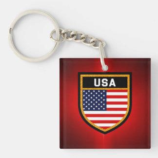 USA Flag Double-Sided Square Acrylic Key Ring