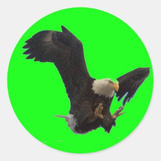 USA FLAG EAGLE ROUND STICKER