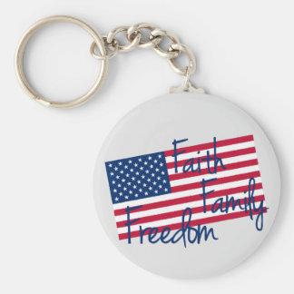 USA Flag - Faith, Family, and Freedom Keychain
