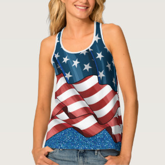 USA Flag Flowing Layers Illusion Top