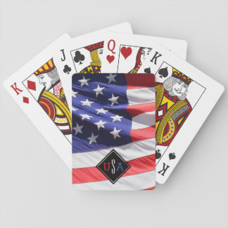USA Flag Gift for Soldier Custom Initials Monogram Playing Cards