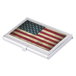 USA Flag Grunge Business Card Holder